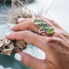 Prehnite 13 Stone Ring - Size 57