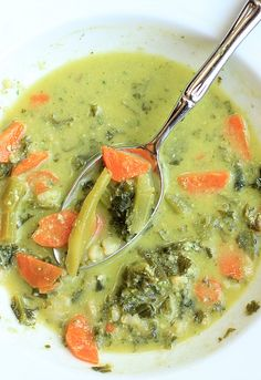 Pumpkin Seed and Parmesan Pesto lends a hint of creamy decadence to this comforting Kale and Basmati Soup!