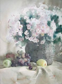 Guan Weixing, un grand aquarelliste chinois Art Floral, Watercolor And Ink, Watercolour Painting, Watercolor Flowers, Watercolors, Painting Still Life, Still Life Art, Korean Painting, Fall Fruits