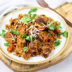 Good Food, Yummy Food, Greek Recipes, Fajitas, Fried Rice, Food Inspiration, Curry, Pasta, Dinner