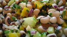 A black-eyed pea salad with onions, celery, and an easy basil dressing. Quick Healthy Meals, Good Healthy Recipes, Healthy Foods To Eat, Raw Food Recipes, Healthy Eating, Vegan Food, Easy Recipes, Healthy Snacks, Black Eyed Pea Salad