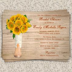 Cowboy Boot & Sunflowers Wooden Rustic Bridal Shower Invitation by InvitationBlvd, $10.99