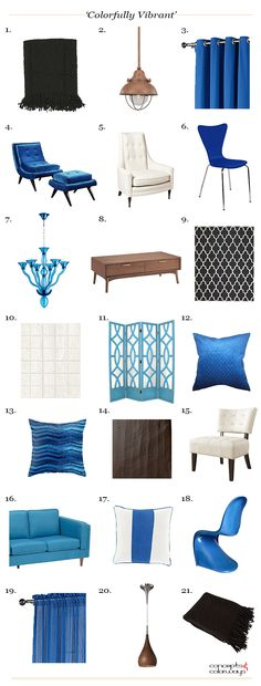 bright blue and brown interior product roundup, interior get the look, black accents, chocolate brown wood, bright blue, electric blue, blue-green, green-blue, ivory, copper, interior styling ideas, interior design inspiration, benjamin moore french press