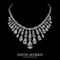 Thanks @davidmorrisjeweller How stunning is this pear shape and oval white diamond fan necklace? #thelondonjeweller #whitediamonds #fannecklace