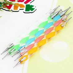 $3.89 5PCS Nail Art Tool Dotting Painting Transparent Plastic Marbleizing Pen for Beauty