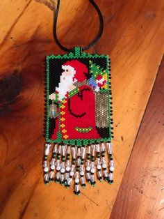 Santa Claus, peyote necklace, saw this pattern, gave it a try...