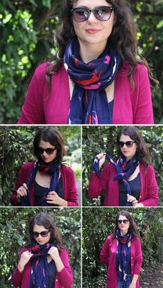 Loop a long scarf once around your neck. Make a half knot with the long ends, up near your neck. Pull the fabric of the neck loop down over the half knot.