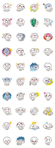 Stickers Clara The Gellyfish 画像 - Bilder für Sie Kawaii Doodles, Cute Doodles, Kawaii Art, Kawaii Faces, Kawaii Stickers, Cute Stickers, Kawaii Drawings, Easy Drawings, Jellyfish Drawing