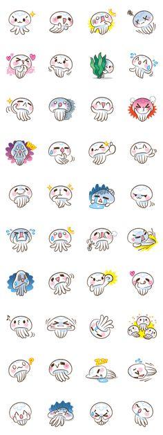Stickers Clara The Gellyfish 画像 - Bilder für Sie Kawaii Doodles, Cute Doodles, Kawaii Faces, Kawaii Art, Kawaii Stickers, Cute Stickers, Kawaii Drawings, Cute Drawings, Jellyfish Drawing