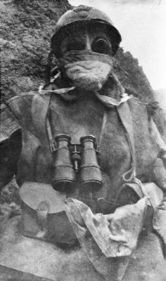 French soldier wearing gas mask, Neuville St Vaast, January 1916.