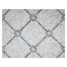 Rothchild's Grid Mosaic Tile   Polished Bianco Carrara Marble & Mugwort Grey-Green