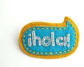 Wool Felt Brooch // Hand Embroidered // Hola // LoftFullOfGoodies
