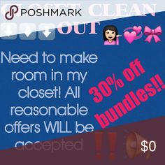 """‼️CLOSET CLEAN OUT‼️ Hey guys! I have to make room in my """"literal"""" closet. I'm accepting all reasonable offers! I'm even offering 30% off bundles!!! If you've been eyeing something, now is the time to buy. Simply click the offer button if you're not comfortable with the price. Thanks everyone  Other"""