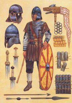 :::: ☼ ☾  PINTEREST.COM christiancross :::: Late Roman infantryman with various equipment used.