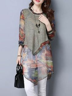 Casual Asymmetric Printed Floral Tunic
