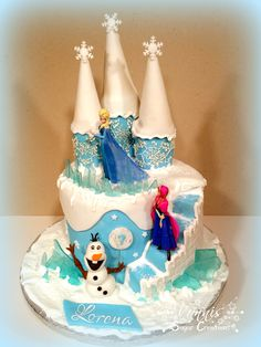 Frozen Cake Castle Olaf Elsa Anna Fondant stairs girl birthday 7 Eiskönigin Torte Kuchen Mädchen Schloss Treppe