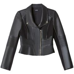 bebe Leather Moto Jacket (6124945 BYR) ❤ liked on Polyvore featuring outerwear, jackets, coats, bebe, moto jacket, leather jacket, genuine leather jacket, leather moto jacket and leather motorcycle jacket
