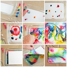 Making marbled milk paper is a great project for kids.