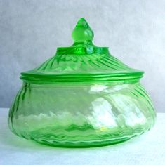 Antique Green Vaseline Depression Glass Candy Dish With Lid