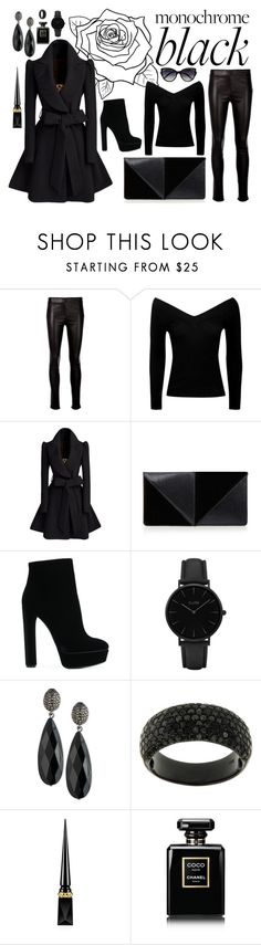 """""""Monochrome Black"""" by emberwarrior ❤ liked on Polyvore featuring Helmut Lang, Boohoo, UN United Nude, Casadei, CLUSE, Lauren Ralph Lauren, Christian Louboutin, Chanel and La Perla"""