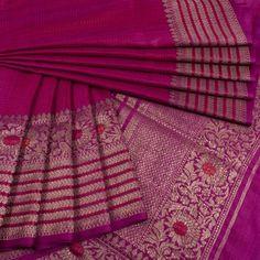 Magenta Handwoven Banarasi Kadhwa Tussar Silk Saree from AVISHYA www.yarnstyles.com