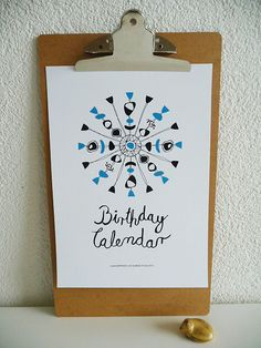 Beautiful Mid-Century perpetual birthday calendar with calligraphy for instant download.    You will receive an instant download for a modern