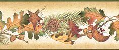 COUNTRY OAK LEAVES ACORNS PINE CONES & BERRIES Autumn Wallpaper border