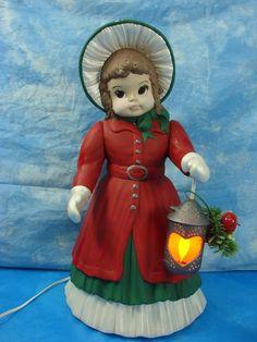 "Rare Vintage Lighted dona's Ceramic Mold Huge 21.5"" Christmas Caroler CUTE"