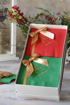 A useful gift for the entertainer in your family, this set of 100 paper cocktail napkins custom printed with choice of holiday design and up to 3 lines of custom print is a fun way to show your appreciation to the host or hostess at this year's Christmas or New Year party. This napkin gift set can be ordered at http://myweddingreceptionideas.com/personalized_holiday_cocktail_napkin_gift_set.asp