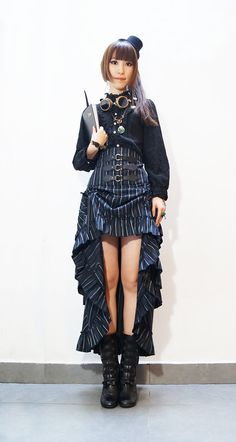 Steampunk Victorian steampunk retro striped drawstring waist skirt dress skirts