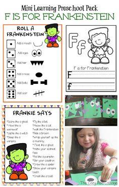F is for Frankenstein Mini Pack Fall Preschool, Preschool Themes, Halloween Math, Halloween Week, Halloween Crafts, Rectangle Face, Kid Picks, Letter Of The Week, Ghost Faces