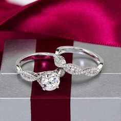 Certified Round Cut Diamond Engagement Wedding Ring Set in White Gold Engagement Ring Settings, Wedding Engagement, Infinity Engagement Rings, Engagement Rings Twisted Band, Engagement Jewelry, Solitaire Engagement, The Bling Ring, Do It Yourself Fashion, Wedding Band Sets