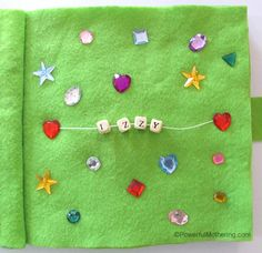 Sequins with Name Recognition No Sew Quiet Book Page
