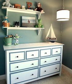 Painting a Hemnes.  Could do in gray with white (gold glitter?) borders