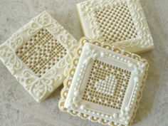 Needlepoint like, white on white  cookie