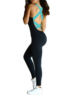 107cc5f7d350 GPCT - Women s Sports YOGA Workout Gym Fitness Jumpsuit - Blue (Medium) -  Walmart.com