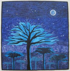 IN THE MOONLIGHT, 25'' x 25'', art quilt by Claire Gimber. It was done as part of an ongoing interest in light, stars and moons. It was juried into ART QUILTS XVIII (2013).