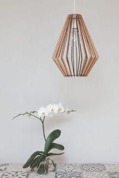 AssembLIT range of laser cut wooden light fittings : easy self assemble Electrical Stores, Bedside Lighting, White Stain, Light Fittings, Pendant Lighting, Glass Vase, Bulb, Range, Ceiling Lights