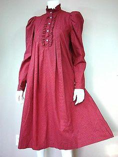 VTG Laura Ashley red modest collar high neck ruffle prairie dress 10 12 38 NWOT