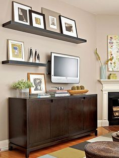 For a fresh look that offers flexibility, install floating shelves.Hang Floating Shelves