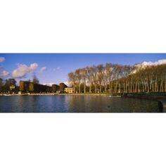Trees along a lake Chateau de Versailles Versailles Yvelines France Canvas Art - Panoramic Images (18 x 7)