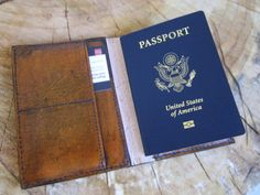 Leather passport wallet by CobblersStitch on Etsy, $45.00
