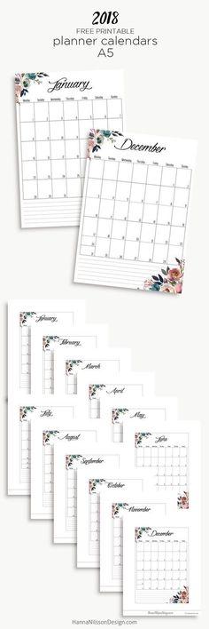 2018 Free printable yearly calendar | planner inserts | filofax printable | monthly planner pages | #planner #printables #calendar