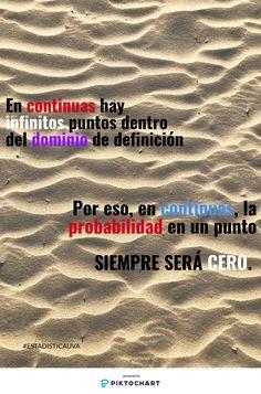 En variables continuas la probabilidad en un punto es cero, porque hay infinitos puntos (como en la arena). Cualquier otra probabilidad haría que la suma de todas probabilidades fuese mayor que 1 al ser infinitos los puntos. #ESTADISTICAUVA