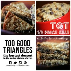 Are you ready for Tuesday's 10am #TGT 1/2 Price #Sale? Sign up for #exclusive access on www.toogoodtriangles.com. #Classic, #Vegan and #GlutenFree styles available at a great price! #toogoodtriangles #dessert