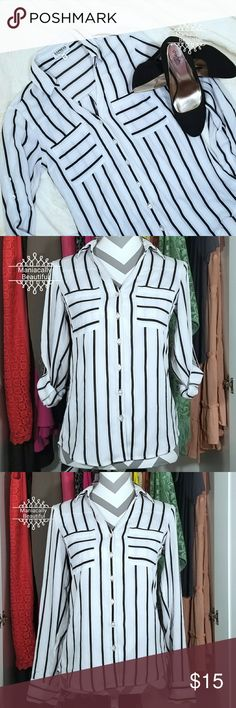 Express The Portofino Shirt Slim fit. Off white/grey and black stripped button down.  Sleeves can roll to 3/4. Express Tops Button Down Shirts