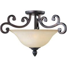 3-Light 14 in. Semi-Flush Mount Colonial Umber Finish Wilshire Glass Shade-HD-MA41733782 at The Home Depot
