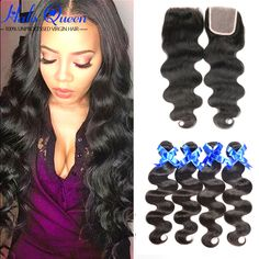 7a Unice Hair With Closure Mink Brazillian Hair Body Wave With Closure 8a 4 Bundles Tissage Bresilienne Avec Closure
