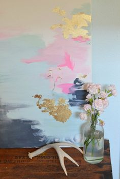 DIY art with gold leafing. LOVE. #artpainting