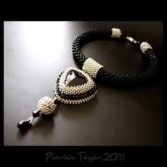 Glam Rock  Black and Silver Bead Embroidered and Bead by triz